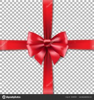 Red Bow In Transparent Background With Gradient Mesh, Vector Illustration