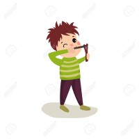Little hellion boy sighting to shoot from slingshot. Child bad behavior concept. Teen bully demonstrating mischievous uncontrollable behavior. Flat design vector illustration isolated on white.